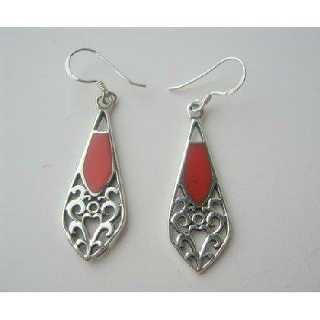 SER038  Orange Coral Seduction Sterling Silve Earrings Orange Coral Inlay Earrings