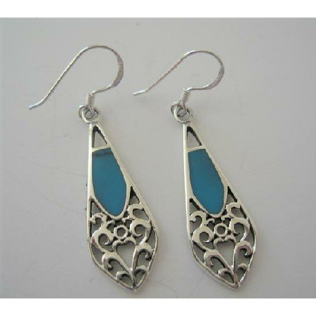 SER026  Classy Turquoise Sterling Silver Inlay Earrings