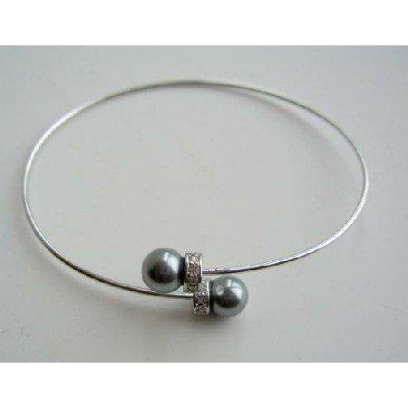 TB304  Genuine Swarovski Pearls Wire Cuff Bracelet w/ Silver Rondells Bracelet
