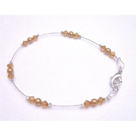 TB786 Swarovski Pearls Crystals Bracelet Copper Pearls & Copper Crystals Lobster Clasp Wire Bracelet