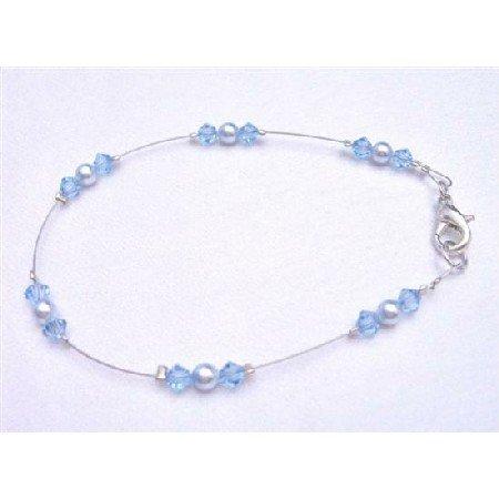 TB790  Aquamarine Crystals Jewelry Bridemaids Flower Girl Lite Blue Pearls Wire Bracelet