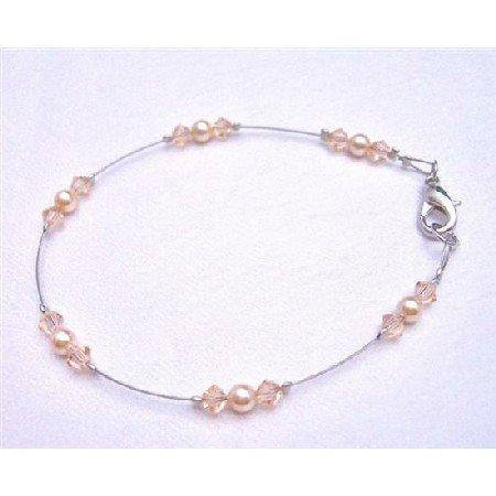 TB780  Peach Dress Matching Jewelry Exclusively Wedding Bridal Bridemaids Bracelet