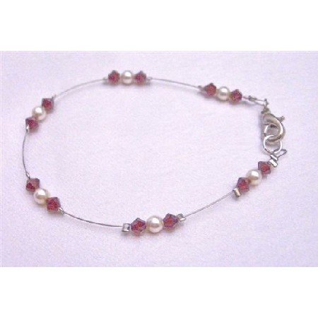 TB783  Under $10 Genuine Swarovski Ivory Pearls And Siam Red Crystals Lobster Clasp Bracelet