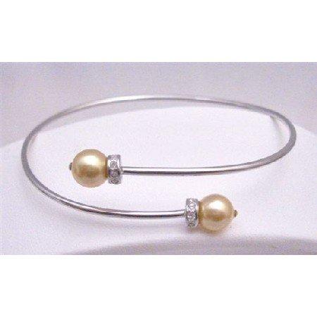 TB770 Wedding Silver Cuff Bracelet w/Genuine Swarovski Gold Pearls Wrist Bracelet w/Diamante