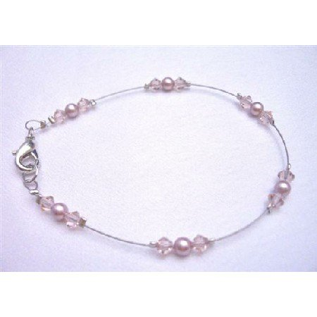 TB778 Swarovski Pearls Crystals Lobster Clasp Bracelet Powder Rose Pearls&Lite Rose Crystals