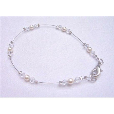 TB784  Ivory Pearls Clear Crystals Matching Bracelet Genuine Swarovski Prom Jewelry