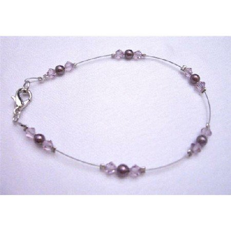 TB788  New Burgundy Pearls With Lite Amethyst Crystals Bridemaids Flower Girl Bracelet
