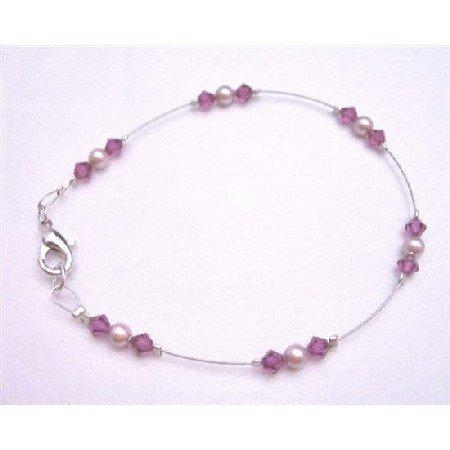 TB777  Fuschia Crystals Lobster Clasp Bracelet Genuine Rose Pearls Wedding Bridal Party Bracelet