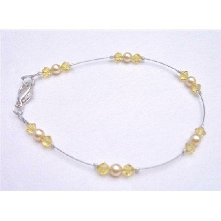 TB787 Absolutely Striking Unique New Combo Gold Pearls&Citrine Crystals Very Dainty Bracelet