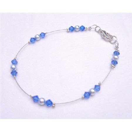 TB776  Blue Lover Jewelry Lite Blue Pearls With Striking Smashing Sapphire Crystals Wire Bracelet