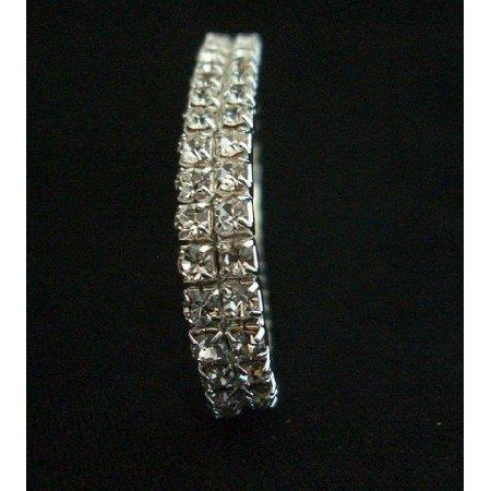TB229  Elegant Glamor Cubic Zircon Bracelet look like Diamond Double Strings