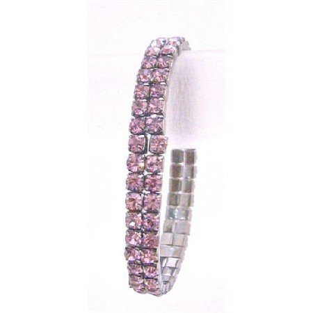TB746  Lite Amethyst Sparkling Stretchable Bracelet Double Stranded Lite Amethyst Cubic Zircon
