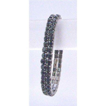 TB744  Jet Black Double Stranded Bracelet Black Cubic Zircon Comfortable Wear Bracelet