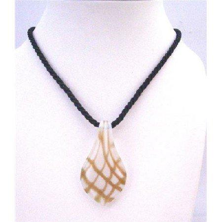N769 Leaf Pendant Black string Hand Painted Pendant White Glass Pendant Necklace