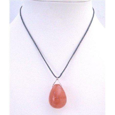 N763 Orange Jade Teardrop Pendant Necklace Glass Teardrop Pendant Inexpensive Jewelry Necklace