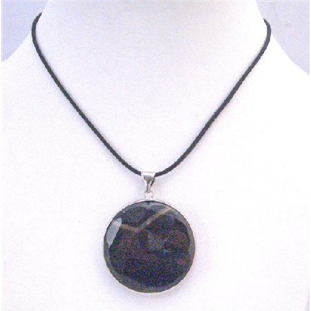 N760 Agate Stone Round Pendant Framed In Rhodium Pendant Stone Pendant Necklace Jewelry