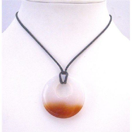 N762 Carnelian Glass Round Pendant Necklace Double Shaded Round Glass Pendant