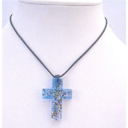 N767  Glass Cross Pendant Blue Murano Glass Cross With Multicolor Spread On The Pendant Necklace