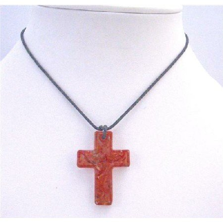 N765  Red Cross Pendant Murano Glass Cross Pendant Necklace Black Chord Necklace