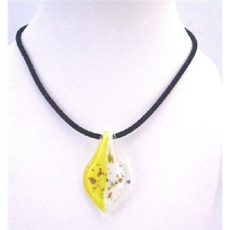 N764  Painted Necklace Lemon & White Murano Leaf Painted With Hand Black Chord Necklace