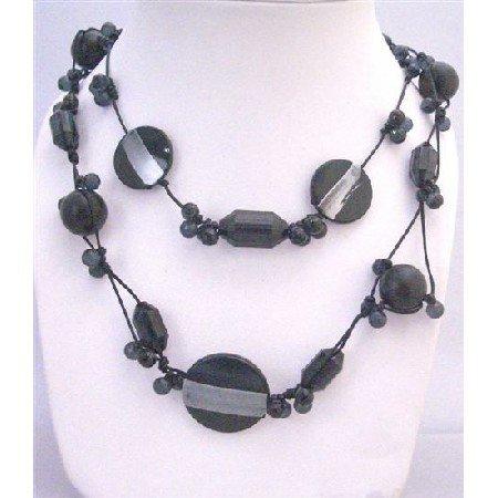 N747 Long Necklace Double Stranded Black Multi Shaped Beads Necklace Under $10 Long Neckalce