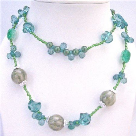 N748  Dainty Sleek Sea Green Long Necklace 34 Inches Double Stranded Neckalce