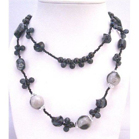N751  Double Stranded Long Necklace Black Tiny Beads Adorable Affordable