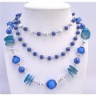 N753 Three Stranded Necklace Long Necklace Dark Blue Pearls Balls Acrylic Glass Beads