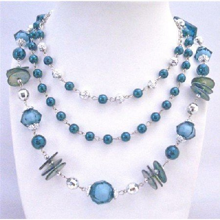 N752 Long 3 Stranded Necklace In Indigo Color w/Disco Balls Acrylic Glass Beads Bali Spacer