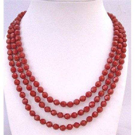 N756  Passionate Romantic Jewelry Red Striking Long Necklace Red Multi Faceted Beads Long Necklace