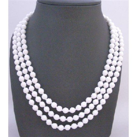 N772  Soothing Pure White Beads Long Necklace 64 Inches Inexpensive Bridemaids Necklaces