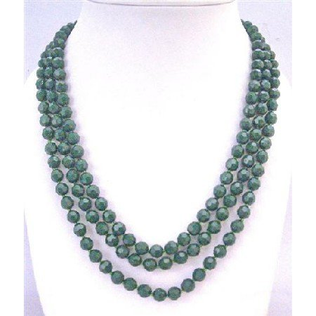 N758 Dark Green Long Necklaces 8mm Multi Faceted Long Necklace 64 Inches Necklace