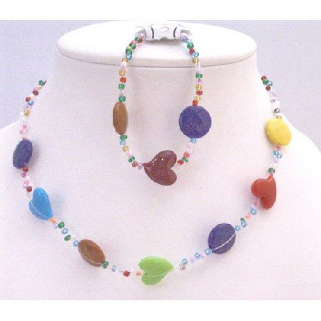 GC146  Multicolored Heart & Multicolored Round Flat Beads Jewelry Necklace & Clasp Bracelet