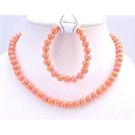 GC135 Orange Round Beads Girls Jewelry Necklace w/Clasp Necklace Stretchable Bracelet
