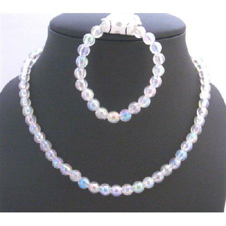 GC139  Pure White Round Bead Necklace & Bracelet Perfect For Girls Return Gift