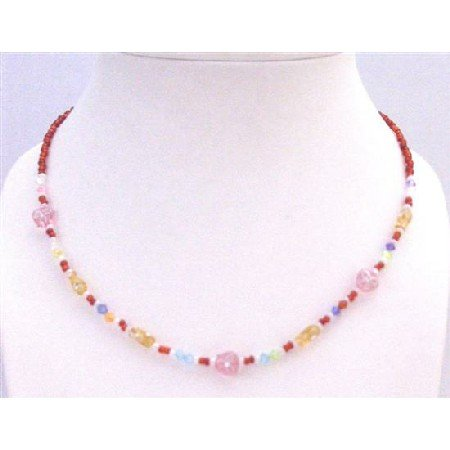 GC159  Fancy Girls Necklace Red Tiny Beads Girls Gift Necklace Gift