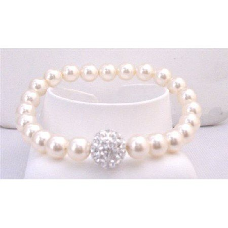 TB863  Bridal Bridemaids Ivory Stretchable Bracelet 7mm Pearls w/Diamante Ball At Center