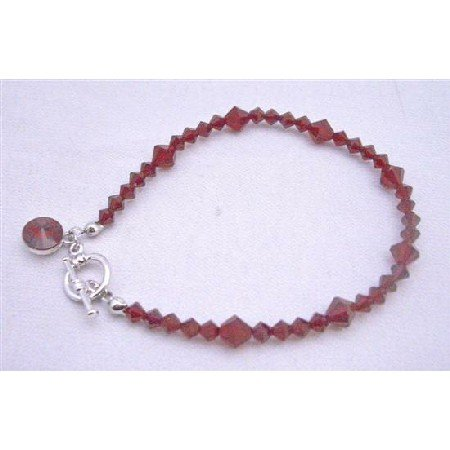 TB861  Faceted Siam Red Crystals Round Drop Down Bracelet