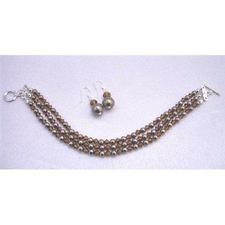 TB856 Brown Chocolate Pearls 3 Stranded Bracelet&Earrings Set w/SwarovskiSmokedTopazCrystals