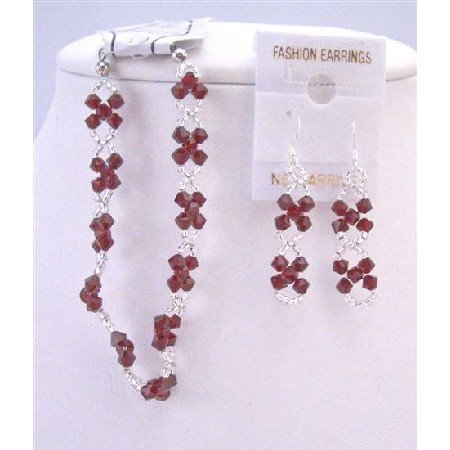 TB855  Japanese Glass Beads Interwoven With Genuine Siam Red Crystals Bracelet & Earrings