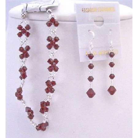 TB853  Siam Red Crystals Bracelet & Earrings Set Interwoven With Japanese Glass Beads