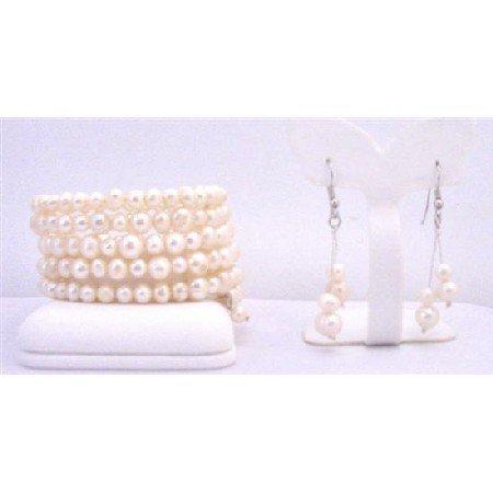 TB850  Five Stranded Freshwater Pearls Bracelets & Earrings Sets Ivory Cream