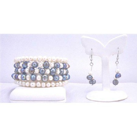 TB849 Cream Ivory&Black Freshwater Pearls 5 Stranded Wire Bangle Bracelet Earrings Set