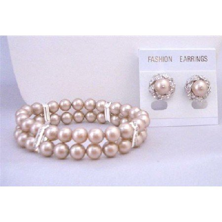 TB848 Prom Jewelry Champagne 8mm Pearls Double Stranded Stretchable Bracelet&Earrings Set
