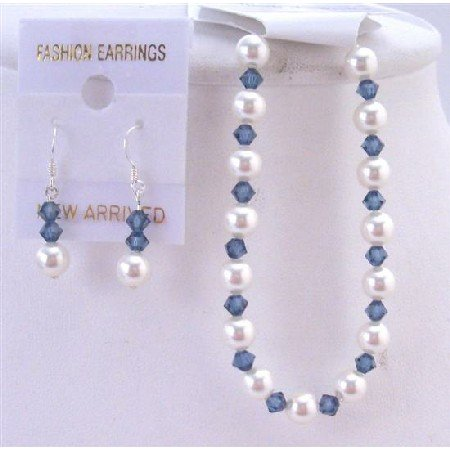 TB839 Montana Blue Jewelry Genuine Swarovski Pearls & CrystalsBraceletEarringsSet