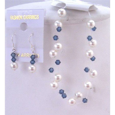 TB834Bracelet&Earrings Jewelry White Pearls Montana Crystals Bracelet Double Stranded Jewelry