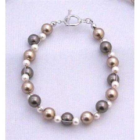 TB829  Interwoven Bracelet TriColor Bronze Ivory & Brown Woven With Each Bead Natural Way