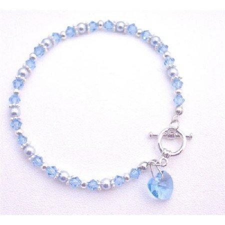 TB824 CuteHeartCharm DanglingBracelet ValentineGift HeartBracelet AquamarinePearls&Crystals