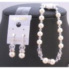 TB819  Clear Cyrstals With Ivory Pearls Bracelet & Earrings With Silver Rondells Spacer