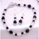 TB814Swarovski Jet&Clear Crystals w/Bali Silver Spacer Sterling Earrings&Bracelet